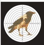 Мишень цветная, рисунок ворона (50 шт./уп.) (140х140)